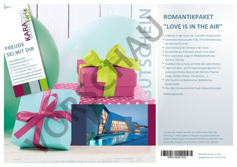 "ROMANTIKPAKET ""LOVE IS IN THE AIR"""